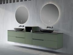 Mobile lavabo doppio sospeso con top in Silexpol®SYNERGY | Mobile lavabo sospeso - FIORA