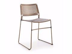 Sedia a slitta da giardino impilabile in acciaioSLIM | Sedia in acciaio - MIDJ