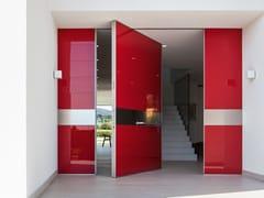 Porta blindata a bilico con rivestimento  in vetro lucidoSYNUA   Porta d'ingresso in vetro lucido - OIKOS VENEZIA
