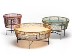 Tavolino rotondo in metallo e corda con piano in HPLTAMBURO - CHAIRS & MORE