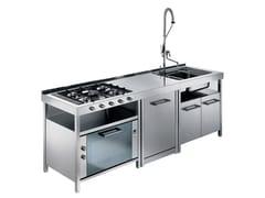 Cucina lineare in acciaio inox con maniglieTECNE | Cucina - GPS INOX
