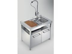 Modulo cucina freestanding in acciaio inox per lavelloTECNE TE100LA - GPS INOX