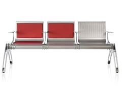 Seduta su barra in acciaio con braccioli TERMINAL | Seduta su barra in acciaio - Terminal