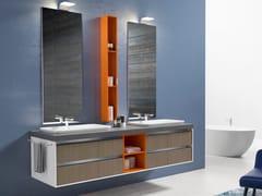 Mobile lavabo doppio sospeso con cassetti TIME LINE -