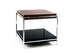 Tavolino laccato in acciaio inox e legno con portarivisteTIMES - BOCA DO LOBO