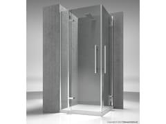 Box doccia angolare su misura in vetro temperato TIQUADRO QA+QA - Tiquadro