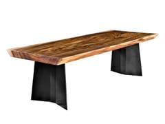 Tavolo con top in legno di Suar e telaio in acciaioTOKYO - CONTE CASERTA