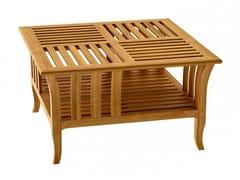 Tavolino da caffè da giardino basso in teak decò TOURNESOL | Tavolino da caffè quadrato - Tournesol