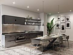 Cucina lineare in acciaioTRAFFIC GREY  & BLACK POLISHED NICKEL - OFFICINE GULLO