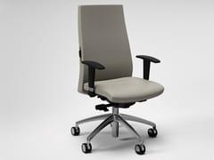 Sedia ufficio ad altezza regolabile in pelle a 5 razze con braccioliTRENDY   Sedia ufficio con braccioli - FANTONI