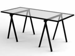 Scrivania in acciaio inox con piano in vetro o laminatoTRESTLE - OMK DESIGN