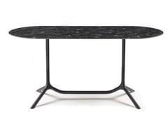 Tavolo ovale o rettangolare con doppia base a 3 razzeTRIPÉ DOPPIO - S•CAB