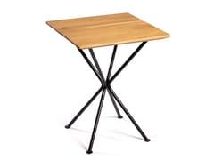 Tavolo quadrato con top in legno massello e base in acciaioTRIPODE4 - DADRA