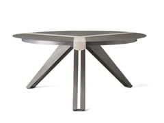 Tavolo rotondo in acciaio e legnoTRIVOLTA - OFFICINE TAMBORRINO