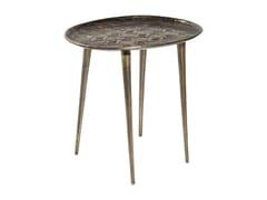 Tavolino di servizio rotondo in alluminio TROJA | Tavolino rotondo -