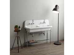 Lavabo a consolle doppio in ceramica con porta asciugamaniTRUECOLORS TCL120 | Lavabo a consolle - BLEU PROVENCE