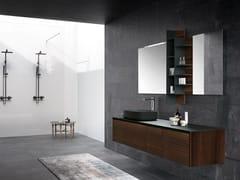 Mobile lavabo sospeso in legno con specchioTULLE 04 - ARCHEDA