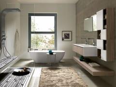 Mobile lavabo sospeso in legno con specchioTULLE 07 - ARCHEDA