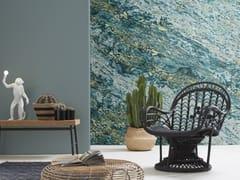 Carta da parati lavabile panoramica effetto marmo TURQUOISE & GOLD SARRANCOLIN MARBLE | Carta da parati panoramica - Marbles