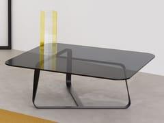 Tavolino da caffè in acciaio e cristallo TWISTER | Tavolino -