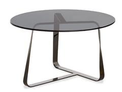 Tavolino da caffè rotondo in acciaio e cristallo TWISTER | Tavolino rotondo -
