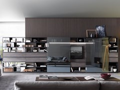 Parete attrezzata componibile in legno e vetro con porta tvURBAN | Parete attrezzata con porta tv - MISURAEMME