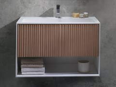 Mobile lavabo sospeso in Solid Surface VEER | Mobile lavabo - BLUBLEU