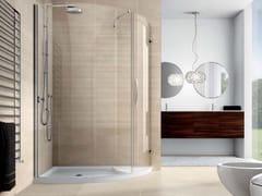 Box doccia con piatto doccia, vetro fisso e porta VELAS VLPTL+VLFI+VLPO - Velas