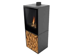 Caminetto a gas free standing VERSAL FREESTANDING WITH WOODBOX - PLANIKA