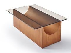Tavolino rettangolare in legno e vetroVESTIGE | Tavolino in legno e vetro - SANCAL