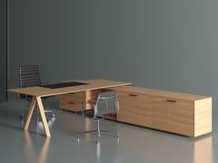 Scrivania direzionale rettangolare in legno impiallacciato con scaffale integratoVIS DIRECTIONAL | Scrivania con scaffale integrato - BK CONTRACT EQUIPMENT