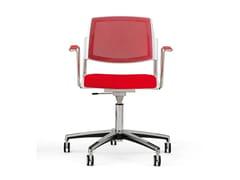 Sedia in tessuto a 5 razze con braccioliVOLÉE NET SOFT | Sedia ufficio con ruote - DIEMMEBI