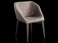 Sedia imbottita in pelle con braccioliW-HEXAGON - H-07
