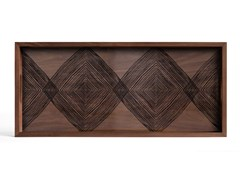 Vassoio rettangolare in legno e vetroWALNUT LINEAR SQUARES - RECTANGULAR L - ETHNICRAFT