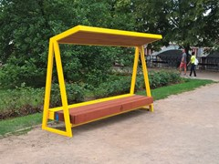Panchina in acciaio e legnoWOODY SOLAR - MMCITÉ 1