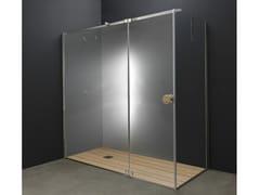 Box doccia angolare in acciaio inox e vetro con porta a battenteY1 | Box doccia - AISI DESIGN