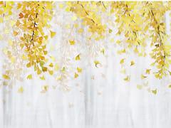 Wallpepper Group, YELLOW GINKGO Carta da parati orientale PVC free, eco-friendly, lavabile