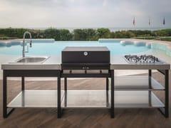 Cucina da esterno modulare con barbecue e piano cotturaYELLOWSTONE - DEIMOS
