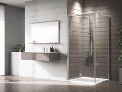 Box doccia angolare in alluminio con piatto con porta a battenteYOUNG | 2GS+F - NOVELLINI