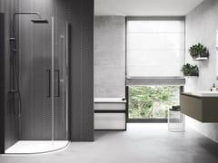 Box doccia semicircolare con porta a battenteYOUNG | R2 LUX - NOVELLINI