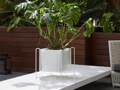 Portavaso basso quadrato in acciaio inox con irrigazione automaticaZEN | Portavaso quadrato - HOBBY FLOWER