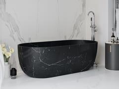 Vasca da bagno centro stanza ovale in marmo Nero MarquinaZURICH | Vasca da bagno in marmo Nero Marquina - RILUXA
