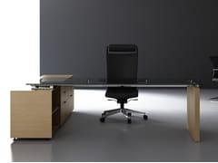 Scrivania rettangolare in legno impiallacciato con scaffale integratoA2 DIRECTIONAL | Scrivania con scaffale integrato - BK CONTRACT EQUIPMENT