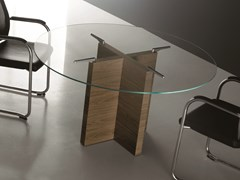 Tavolo da riunione rotondo con top in vetroA2 ROUND | Tavolo da riunione in vetro - BK CONTRACT EQUIPMENT