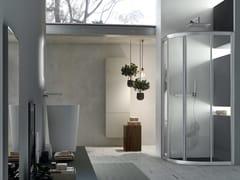 Box doccia angolare semicircolare con porta scorrevole A4 - 80 X 80 | Box doccia semicircolare -