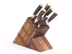 Ceppo coltelli in legnoACGKHCU010NO | Ceppo coltelli in noce - OFFICINE GULLO