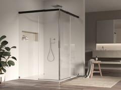 Box doccia angolare quadrato in alluminio e vetro con porta scorrevoleACQUA 5000 NEW   Box doccia quadrato - DUKA