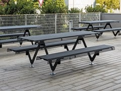 Tavolo da picnic in acciaio con panchine integrateAIR - A - METALCO