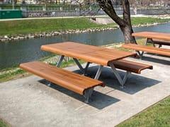 Tavolo da picnic in acciaio e legno con panchine integrateAIR - L - METALCO