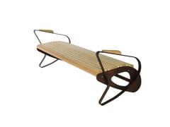 Euroform W, ALLBENCH Panchina in legno con braccioli senza schienale